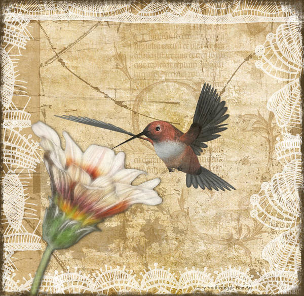 Hummingbird Poster featuring the digital art Hummingbird And Wildflower by Lesley Smitheringale