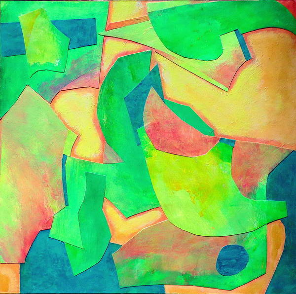Acrylic Abstract Collage Poster featuring the mixed media Adagio by Diane Fine