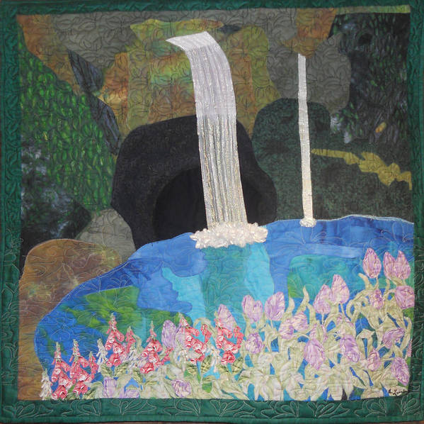 Waterfall Poster featuring the tapestry - textile Behind The Waterfall by Aisha Lumumba