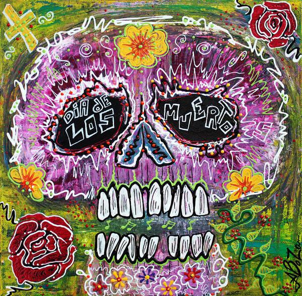Pink Poster featuring the painting Craneo Rosado De Los Muertos by Laura Barbosa