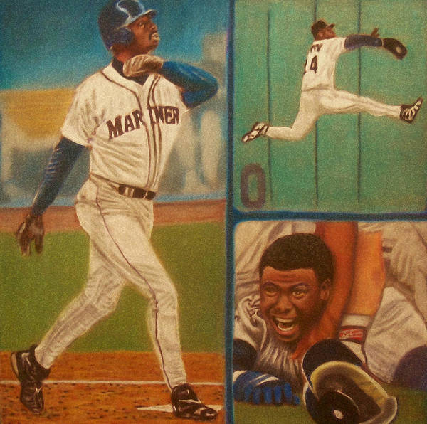 Pastel Poster featuring the painting First Ballot Feat Ken Griffey Jr. by D Rogale