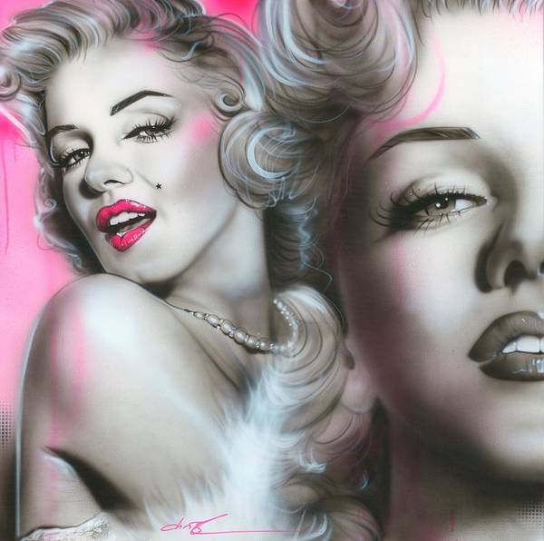Marilyn Monroe Poster featuring the painting 'gentlemen Prefer Blondes' by Christian Chapman Art