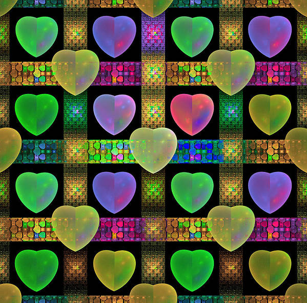 Fractal Poster featuring the digital art Hearts by Sandy Keeton