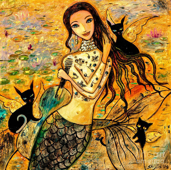 Mermaid Art Poster featuring the painting Lotus Pool by Shijun Munns