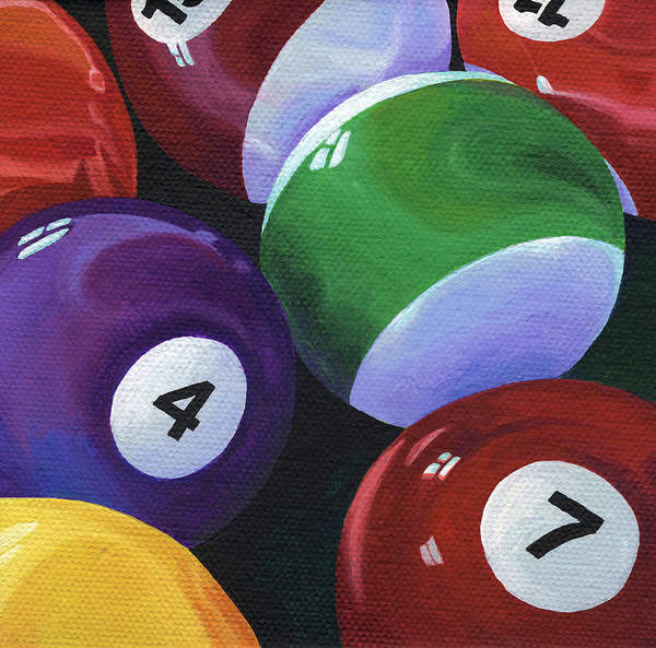 Pool Table Poster featuring the painting Lucky Seven by Natasha Denger