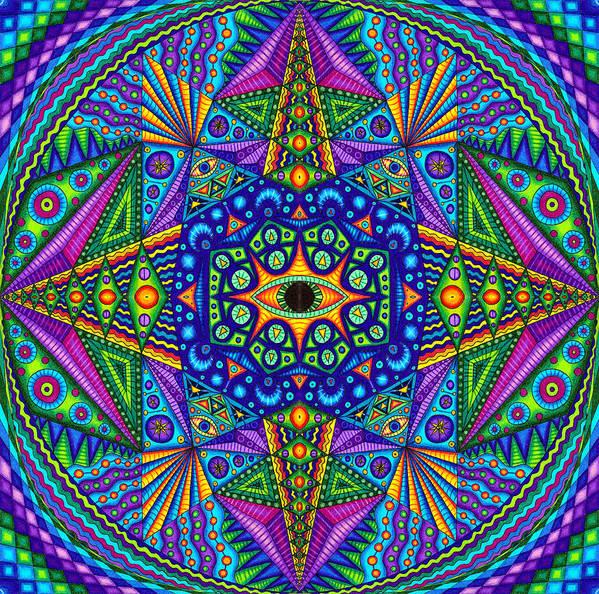 Matt Molloy Poster featuring the drawing Mandala Madness by Matt Molloy
