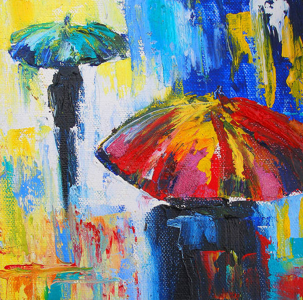 Red Poster featuring the painting Red Umbrella by Susi Franco