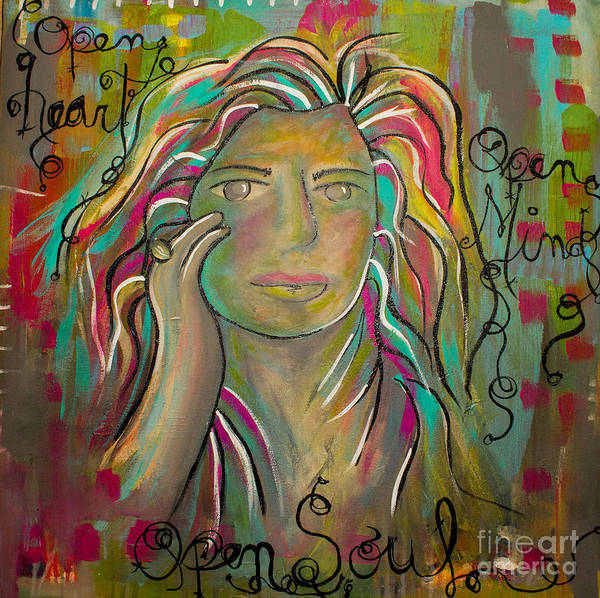 Open Heart Poster featuring the painting Self Portrait by Gina Ahrens