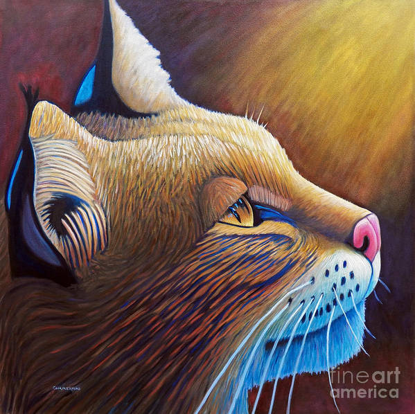 Bobcat Poster featuring the painting Shine by Brian Commerford