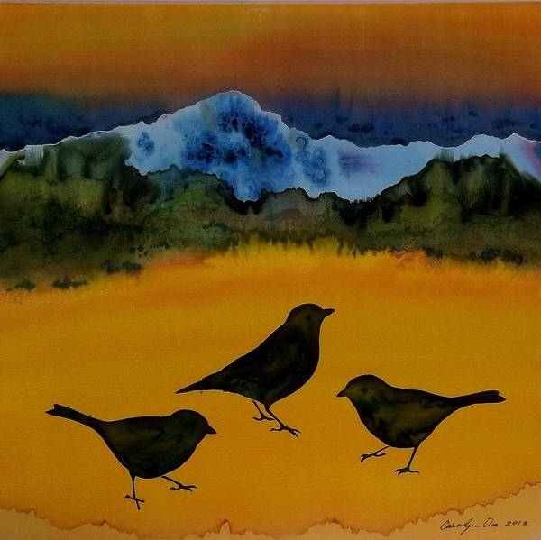 Blackbirds Poster featuring the tapestry - textile 3 Blackbirds by Carolyn Doe