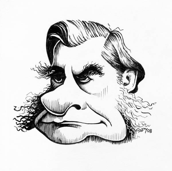 Thomas Huxley Poster featuring the photograph Thomas Huxley, Caricature by Gary Brown