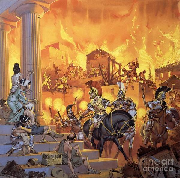 Rome; Ancient Rome; Romans; Attack; Destruction; Fire; Soldiers; Flames; Temple Poster featuring the painting Unidentified Roman Attack by Angus McBride