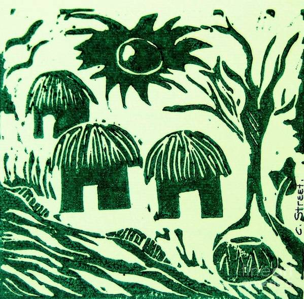 Lino Cutting Poster featuring the relief African Huts by Caroline Street