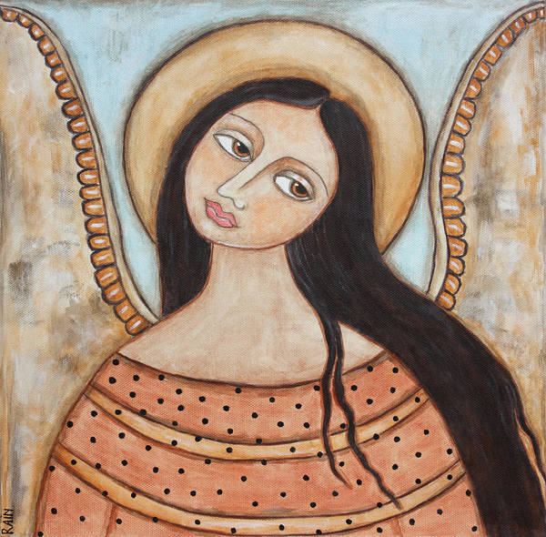 Folk Art Paintings Poster featuring the painting Angel Of Silence by Rain Ririn