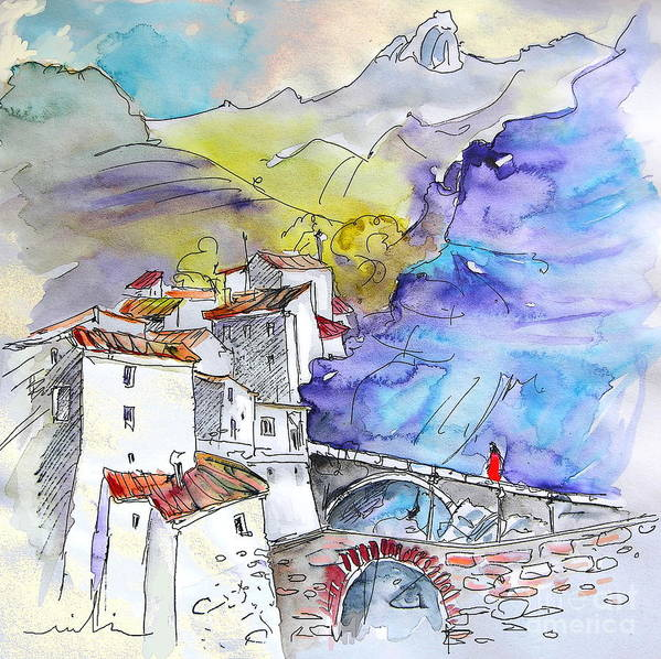 Arnedillo Poster featuring the painting Arnedillo In La Rioja Spain 02 by Miki De Goodaboom