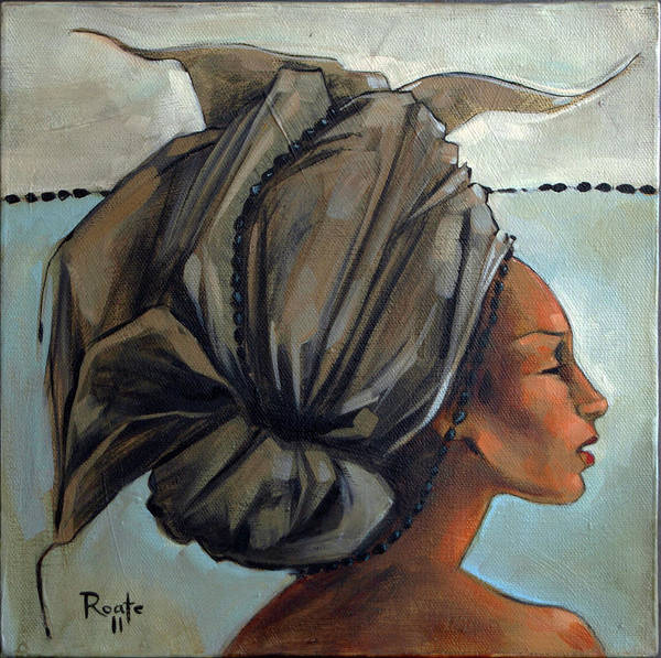 Hair Poster featuring the painting Blue And Black Bead Headdress by Jacque Hudson