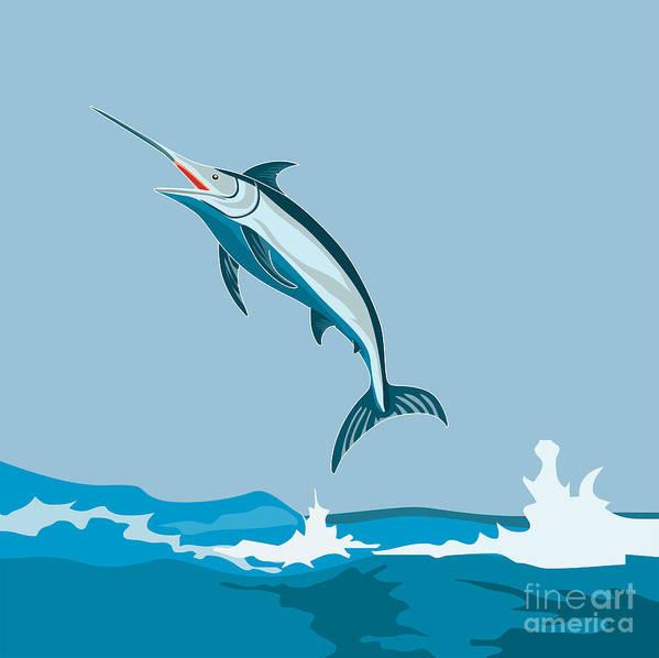 Fish Poster featuring the digital art Blue Marlin by Aloysius Patrimonio