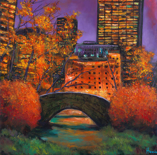 Gapstow Bridge Central Park Poster featuring the painting New York City Night Autumn by Johnathan Harris
