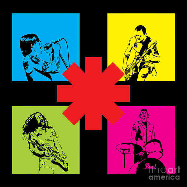 Rhcp Poster featuring the digital art Rhcp No.01 by Caio Caldas