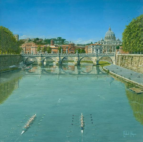 Landscape Poster featuring the painting Rowing On The Tiber Rome by Richard Harpum