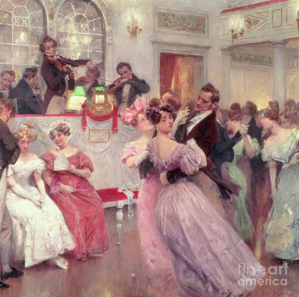 Dancing Poster featuring the painting The Ball by Charles Wilda