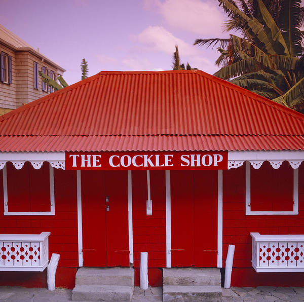 Red Poster featuring the photograph The Cockle Shop by Shaun Higson