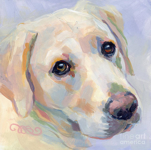 Yellow Lab Poster featuring the painting Young Man by Kimberly Santini