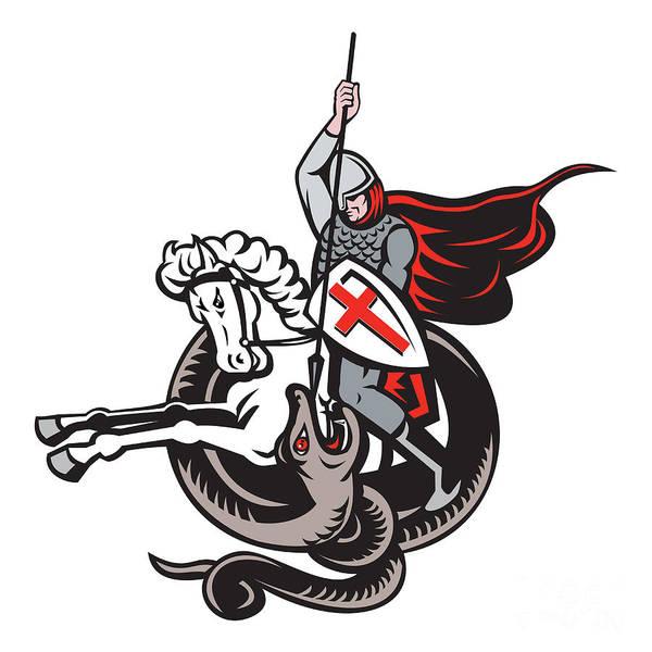Knight Poster featuring the digital art English Knight Fighting Dragon England Flag Shield Retro by Aloysius Patrimonio