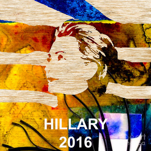Hillary Clinton Paintings Mixed Media Poster featuring the mixed media Hillary Clinton 2016 by Marvin Blaine