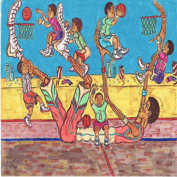 Hoop Poster featuring the mixed media Basketball Daycare by Richard Hockett
