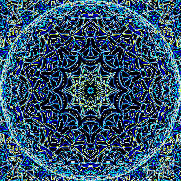 Abstract Poster featuring the digital art Blue Planet by Ron Brown