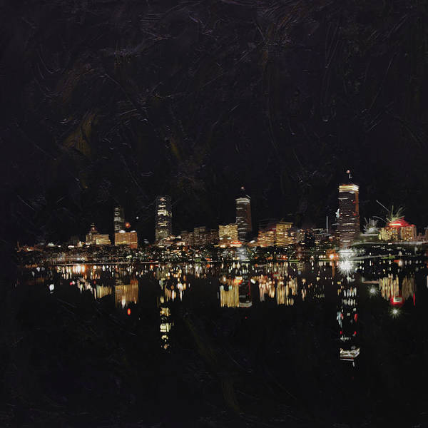 Boston City Poster featuring the painting Boston City Skyline 2 by Corporate Art Task Force