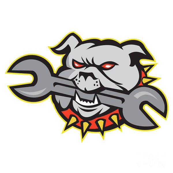 Bulldog Poster featuring the digital art Bulldog Dog Spanner Head Mascot by Aloysius Patrimonio