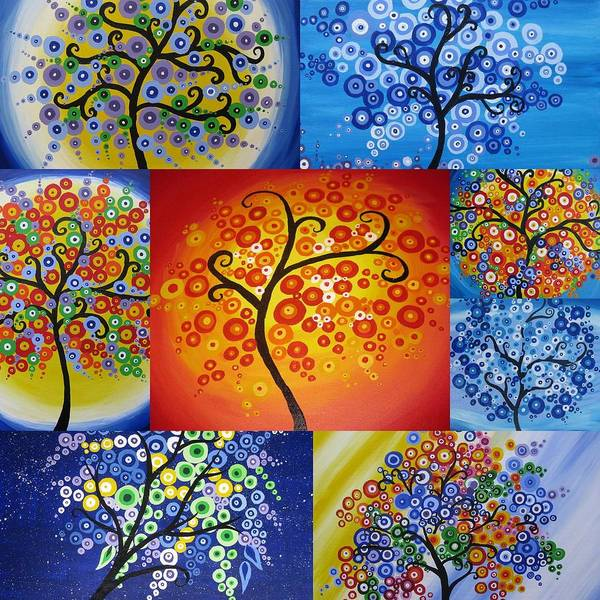 Trees Poster featuring the painting Circle Trees by Cathy Jacobs