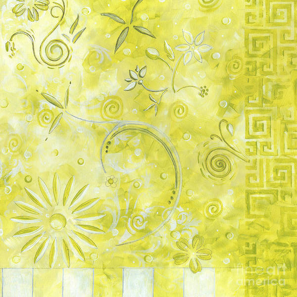 Coastal Poster featuring the painting Coastal Decorative Citron Green Floral Greek Checkers Pattern Art Green Whimsy By Madart by Megan Duncanson