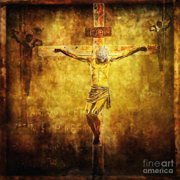Jesus Poster featuring the digital art Crucified Via Dolorosa 12 by Lianne Schneider