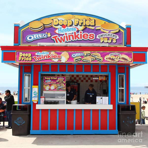 California Poster featuring the photograph Deep Fried Hostess Twinkies At The Santa Cruz Beach Boardwalk California 5d23689 by Wingsdomain Art and Photography