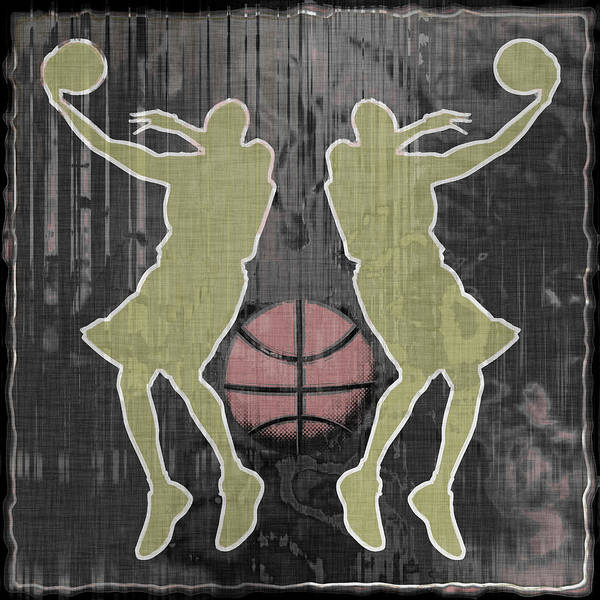 Basketball Poster featuring the digital art Double Hook by David G Paul