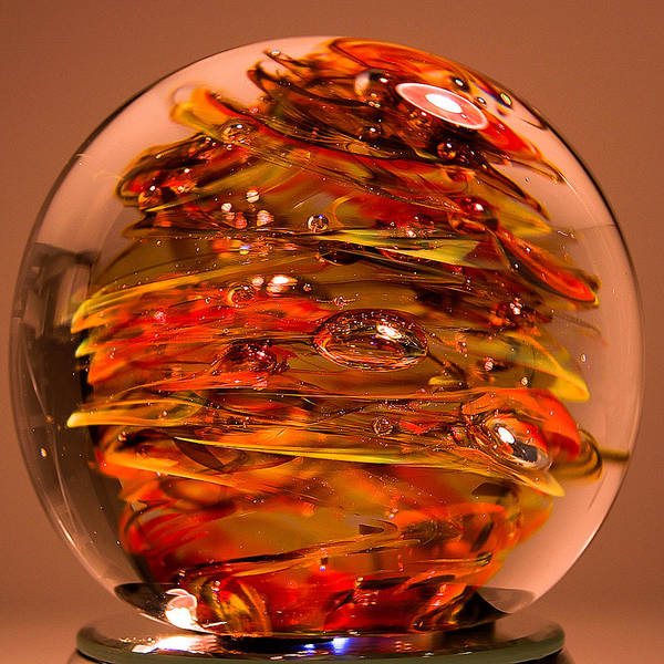 Glass Poster featuring the sculpture Ember Swirls Fe1 by David Patterson