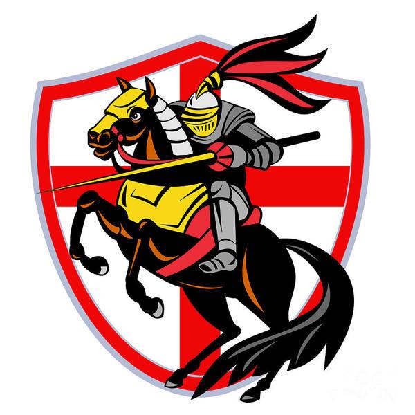Knight Poster featuring the digital art English Knight Lance England Flag Shield Retro by Aloysius Patrimonio