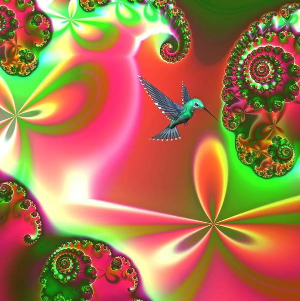 Hummingbirds Poster featuring the digital art Fantasia by Sharon Lisa Clarke