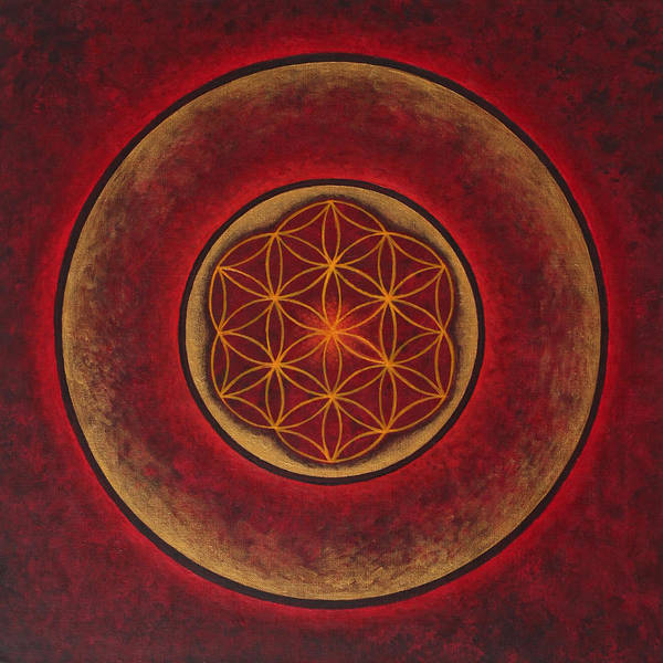 Mandala Poster featuring the painting Glowing by Erik Grind