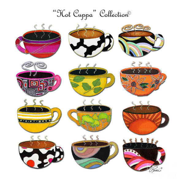 Art Poster featuring the painting Hot Cuppa Whimsical Colorful Coffee Cup Designs By Romi by Megan Duncanson