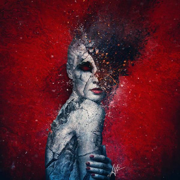 Red Poster featuring the digital art Indifference by Mario Sanchez Nevado