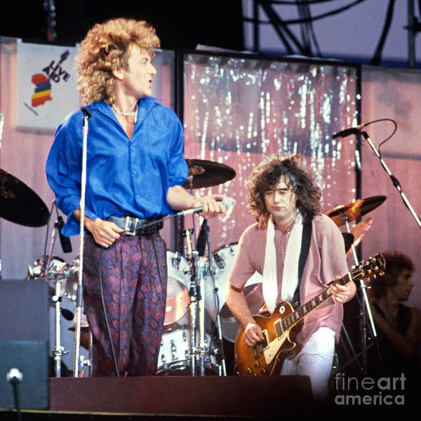 Led Zapplin Poster featuring the photograph Led Zeppelin Page And Plant Live Aid 1985 by Chuck Spang