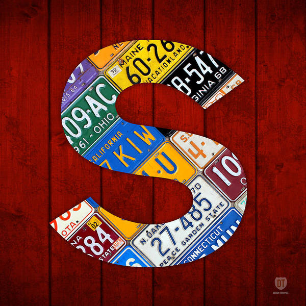 Letter Poster featuring the mixed media Letter S Alphabet Vintage License Plate Art by Design Turnpike