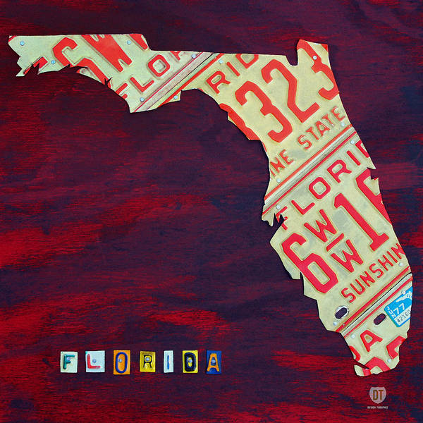 License Plate Map Poster featuring the mixed media License Plate Map Of Florida By Design Turnpike by Design Turnpike