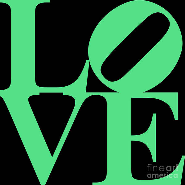 Love Poster featuring the digital art Love 20130707 Green Black by Wingsdomain Art and Photography