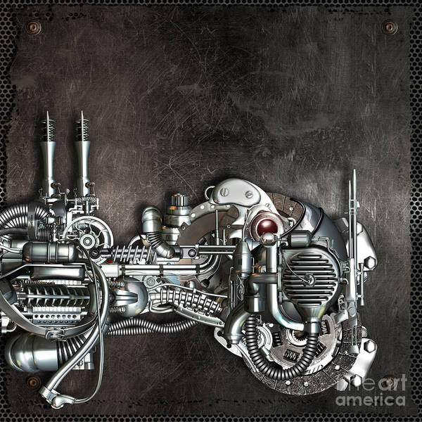 Mechanism Poster featuring the mixed media Danger From Above by Diuno Ashlee