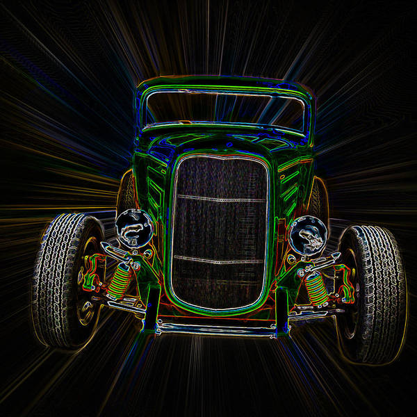 Neon Poster featuring the photograph Neon Deuce Coupe by Steve McKinzie